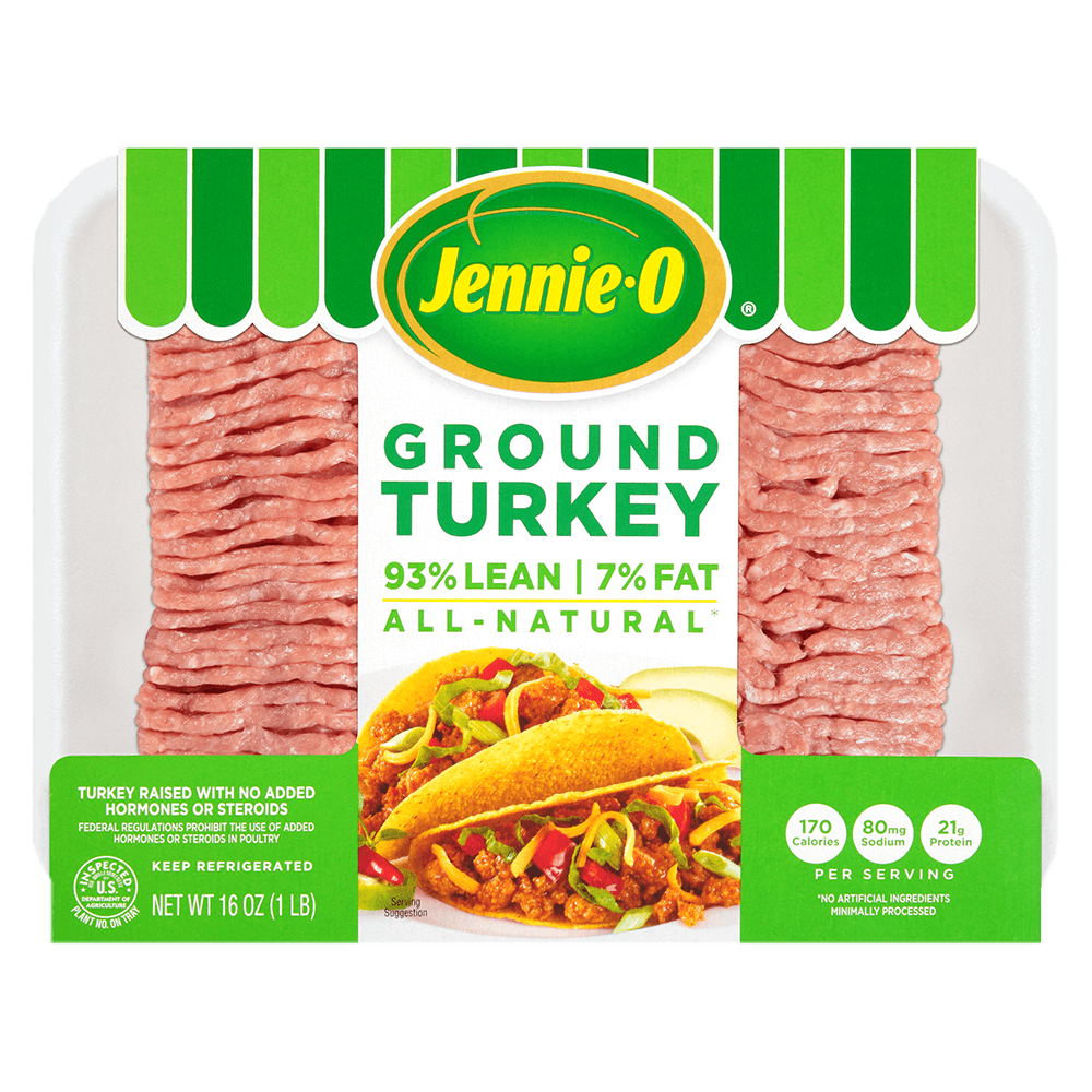 JENNIE-O® Ground Turkey 93% Lean 7% Fat in a green and white clear case.