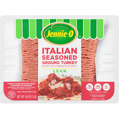 JENNIE-O® Italian Seasoned Ground Turkey Lean in white packaging.
