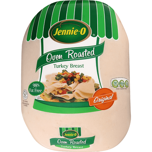 JENNIE-O® Oven Roasted Turkey Breast in branded packaging with a picture of an open-face turkey sandwich topped with herbs.