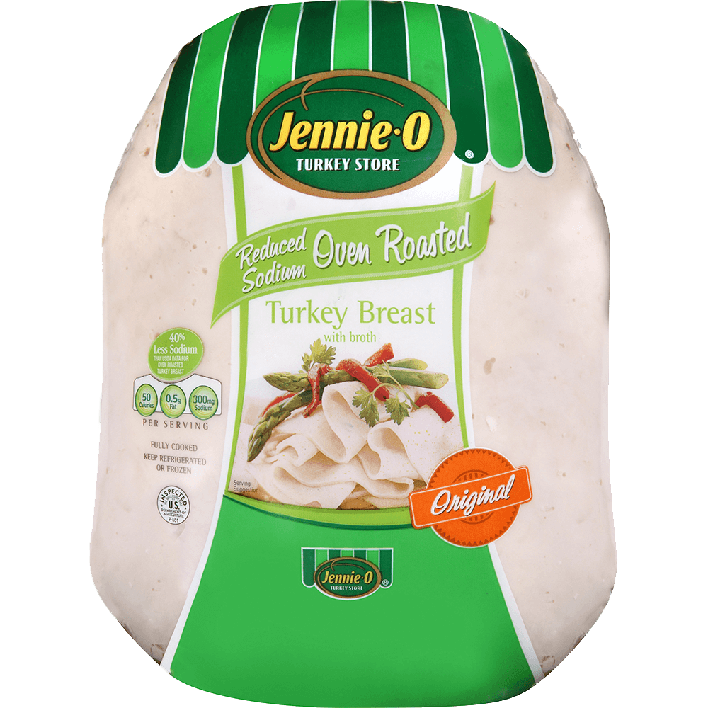 JENNIE-O® Reduced Sodium Oven Roasted Turkey Breast in packaging with deli slices of turkey meat topped with asparagus and herbs.