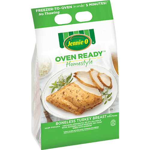 JENNIE-O® Oven Ready™ Homestyle Boneless Turkey Breast in its green and white branded package.