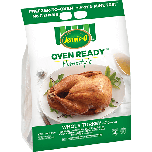 JENNIE-O® Oven Ready™ Homestyle Whole Turkey with Gravy Packet in a white bag with a picture of turkey on a white plate.