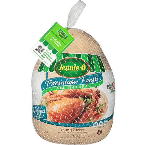 JENNIE-O® Premium Fresh All Natural* Young Turkey in its packaging.