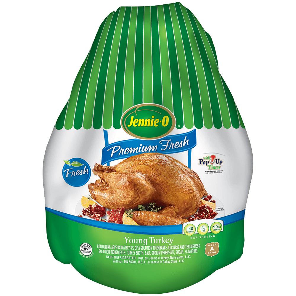 JENNIE-O® Premium Fresh Young Turkey by weight in its green and white packaging.