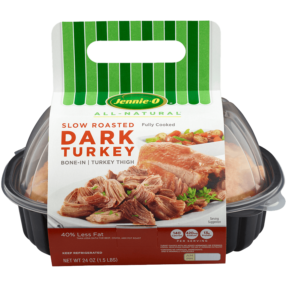 JENNIE-O® Slow Roasted Dark Turkey Bone-In Turkey Thigh in its black plastic container.