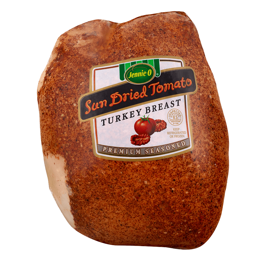 JENNIE-O® Sun Dried Tomato Turkey Breast Premium Seasoned in wrapped packaging with an illustration of a vine ripe tomato and sun dried tomatoes.