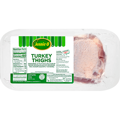 JENNIE-O® Turkey Thighs in wrapped packaging on a white plate.