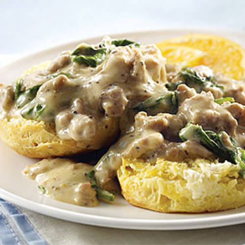 Biscuits with Spinach Turkey Gravy