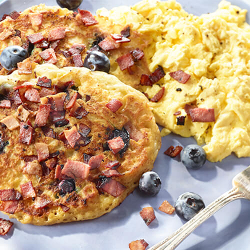 Blueberry Turkey Bacon Pancakes