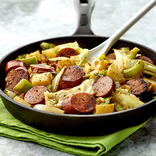 Cabbage Potato & Andouille Sausage Skillet