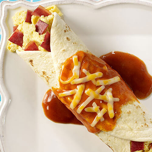 Egg & Turkey Bacon Enchiladas