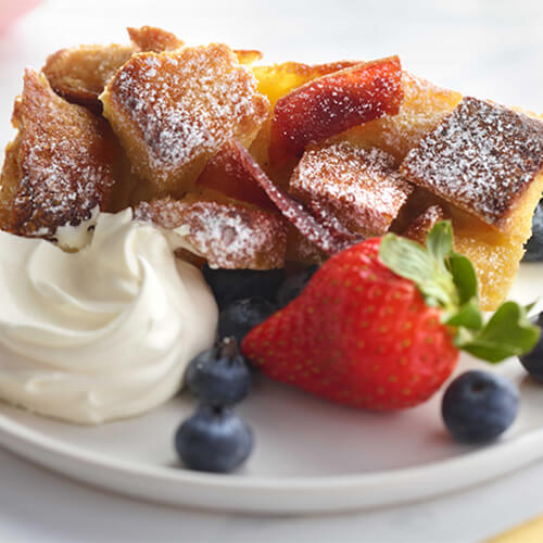 French Toast Bake with Candied Turkey Bacon