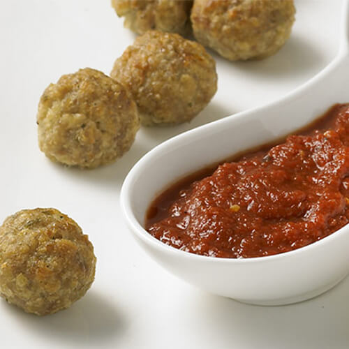 Pesto Turkey Meatballs with Roasted Pepper Sauce