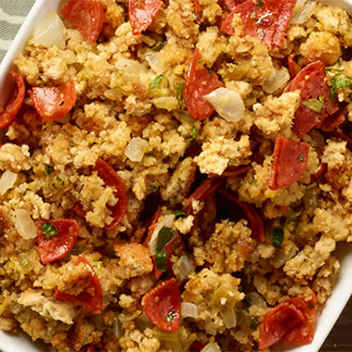 Classic cornbread stuffing but with the addition of green chilies, onions, garlic, and turkey pepperoni.