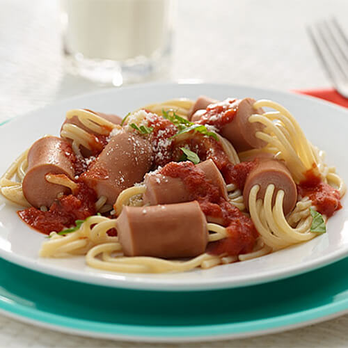 Spaghetti in Turkey Franks