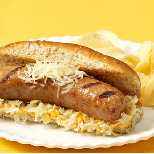 Turkey Bratwurst Reubens