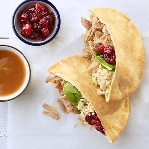 Turkey, Rice & Cranberry Pitas