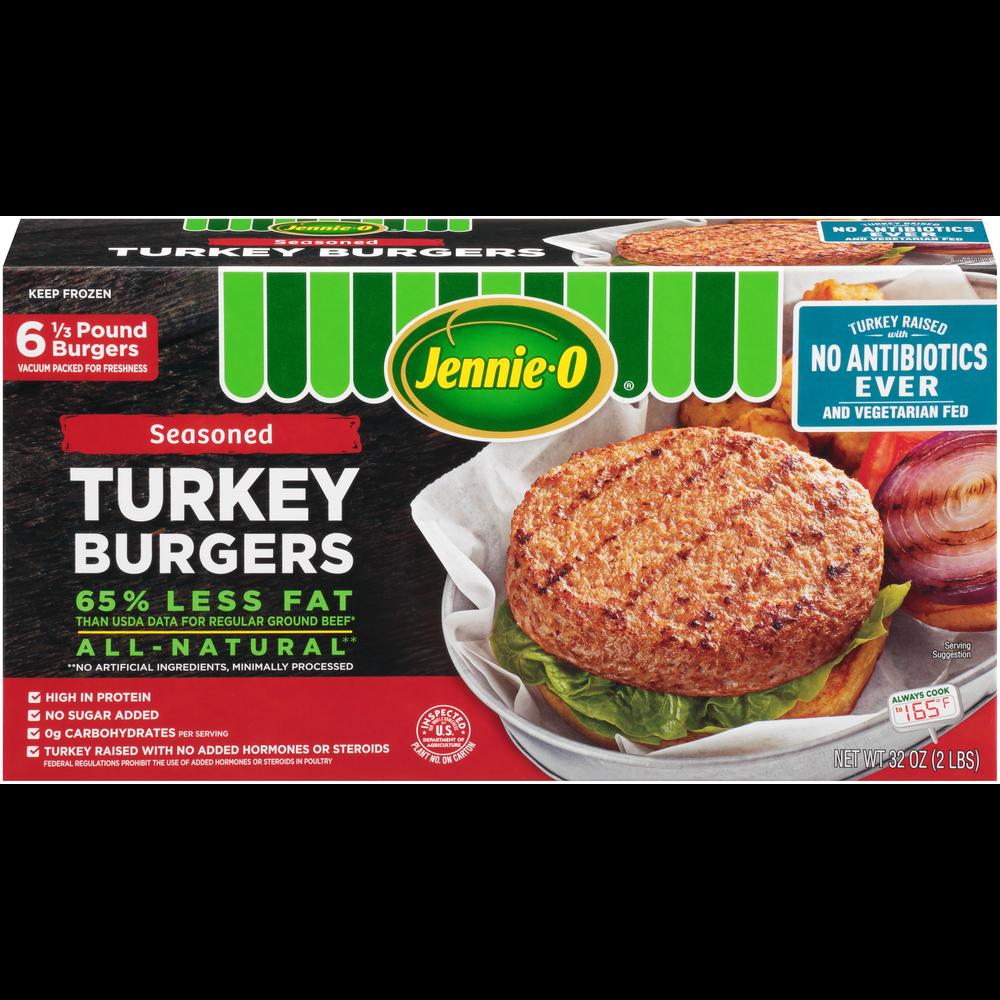 JENNIE-O® 1/3 LB Seasoned Turkey Burgers – Raised With No Antibiotics Ever